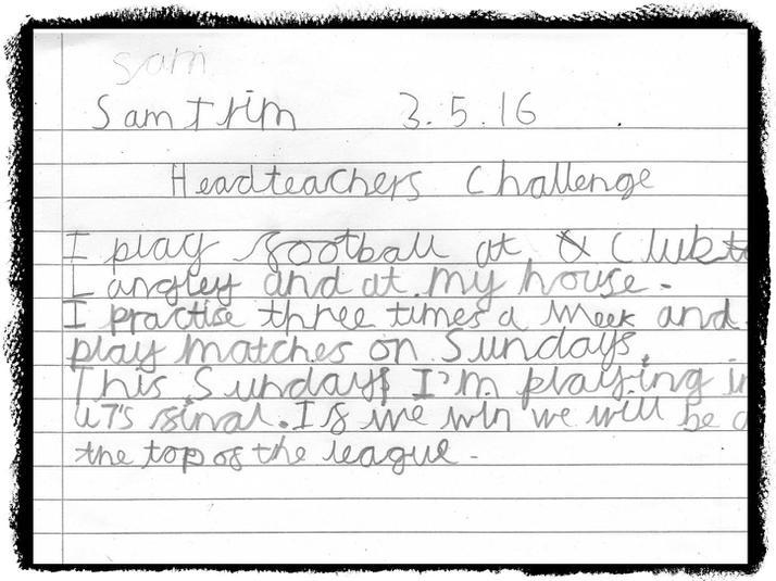 Sam from Badger Class plays football.