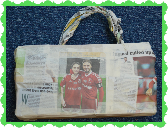 Sam from Owl Class recycled a newspaper