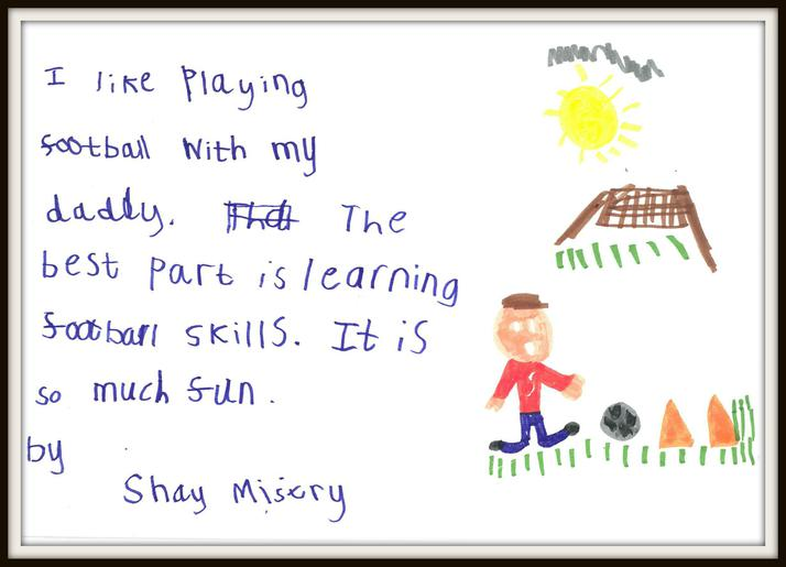 Shay in Squirrel Class plays football