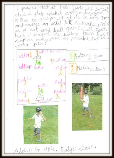Adrian in Badger Class plays cricket
