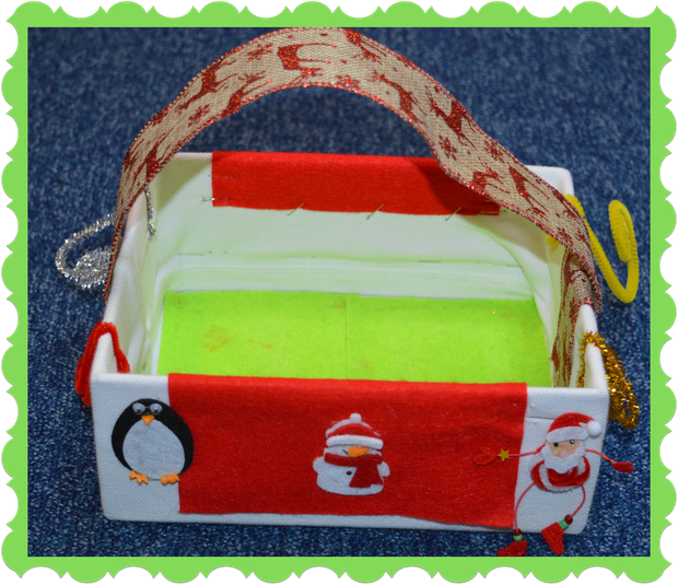 Henry in Owl Class used a box and chistmas ribbon