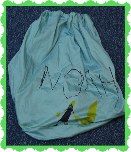 Noah in Rabbits made a bag from old material