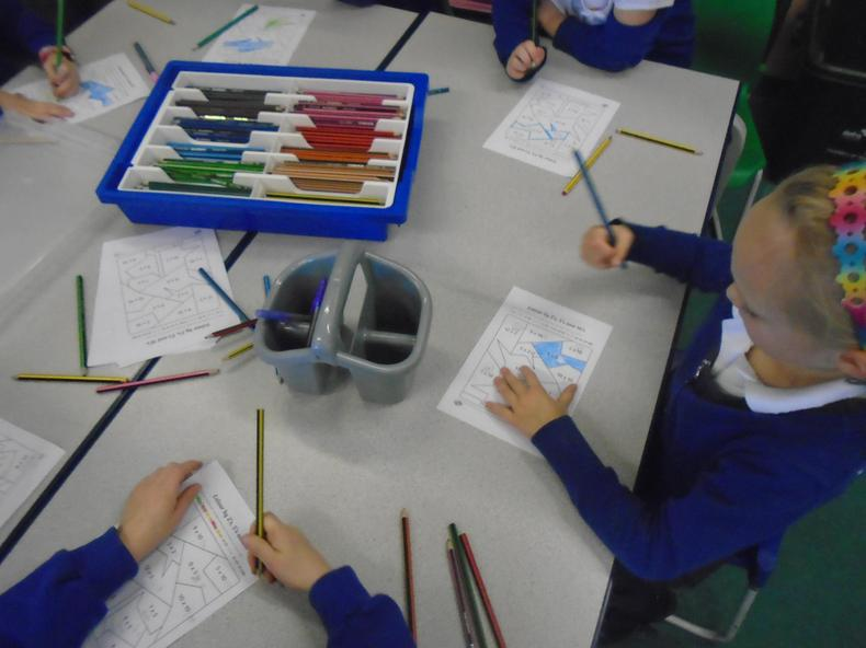 Colouring by 2s, 5s and 10s.