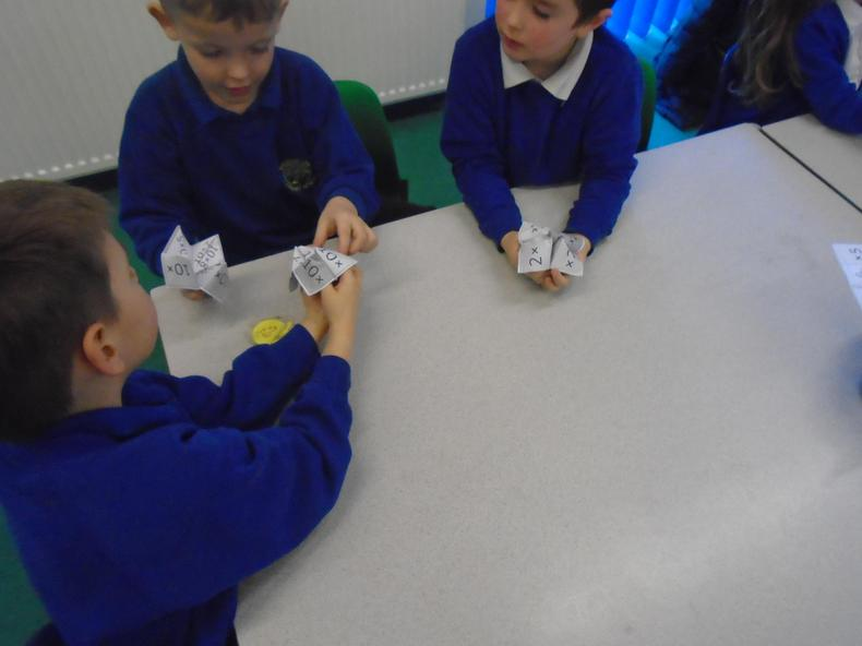 Making times tables fortune tellers.