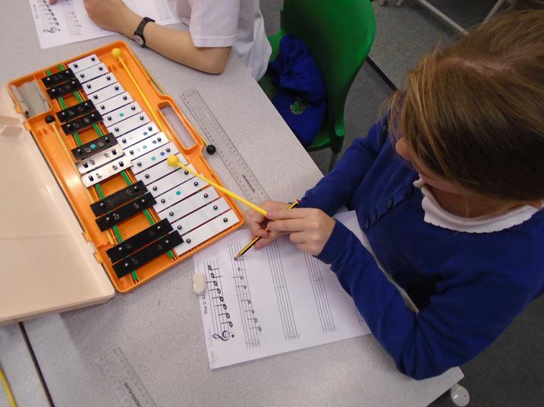 Year 6 composing on the glockenspeils