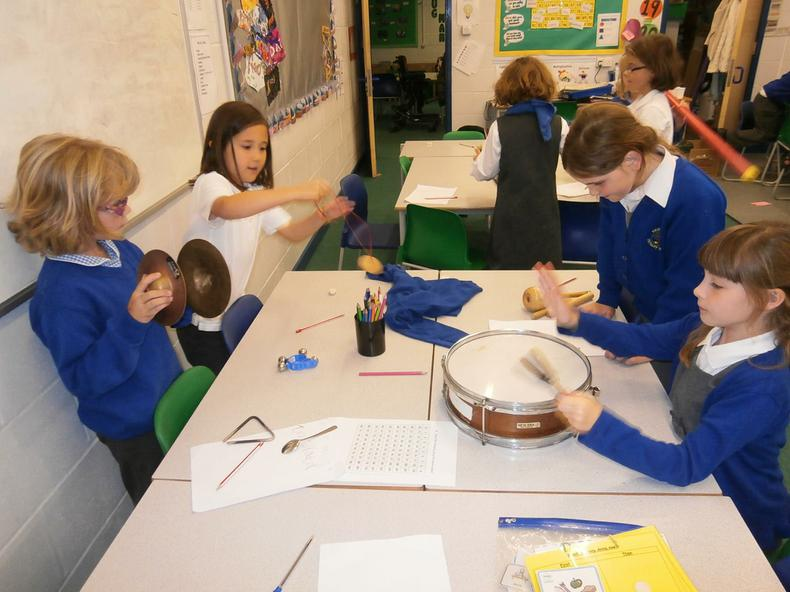 Year 5 using percussion instruments