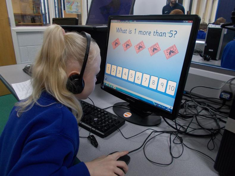 Using the computers to help with Maths.