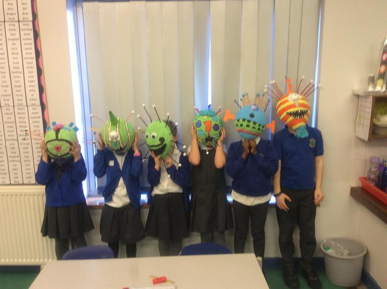 We tried out our finished masks.