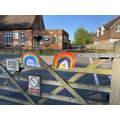 Rainbows painted by the children attending school