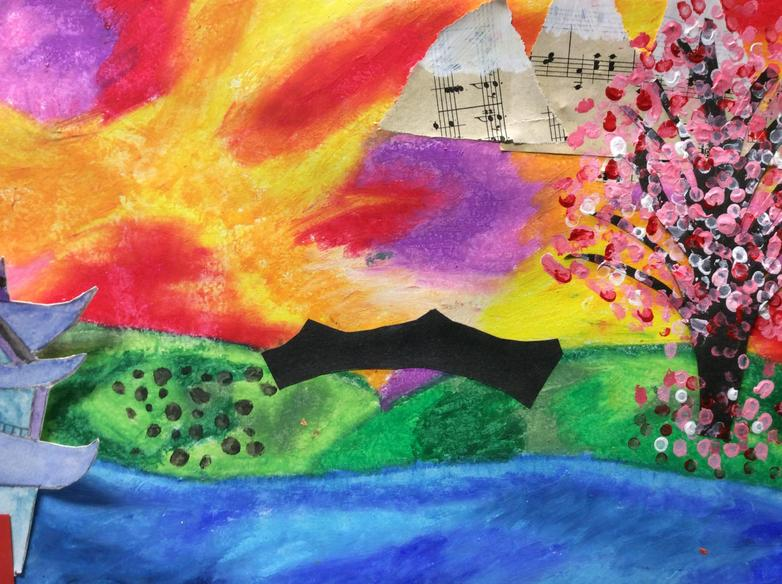 Mixed media inspired by Chinese landscapes