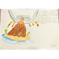 Volcano drawing by Aahan 3QK :)