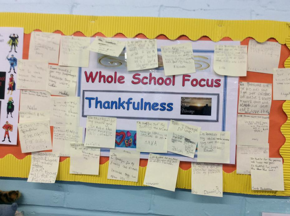 We all wrote about what we are thankful for.