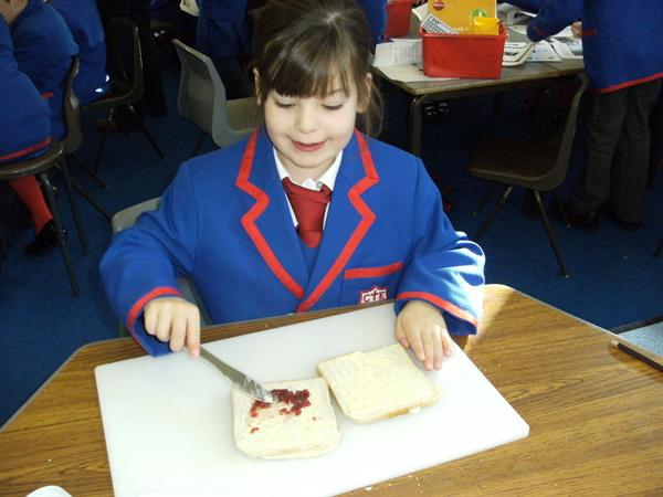 Making a jam sandwich using instructions I wrote!