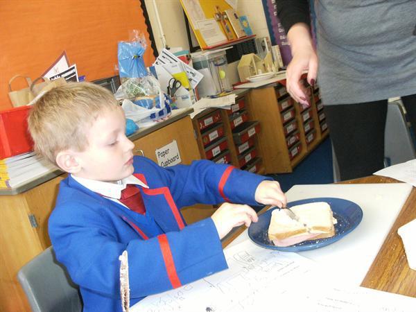 Cutting the sandwich carefully!