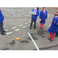 Measuring the distance of a beanbag throw