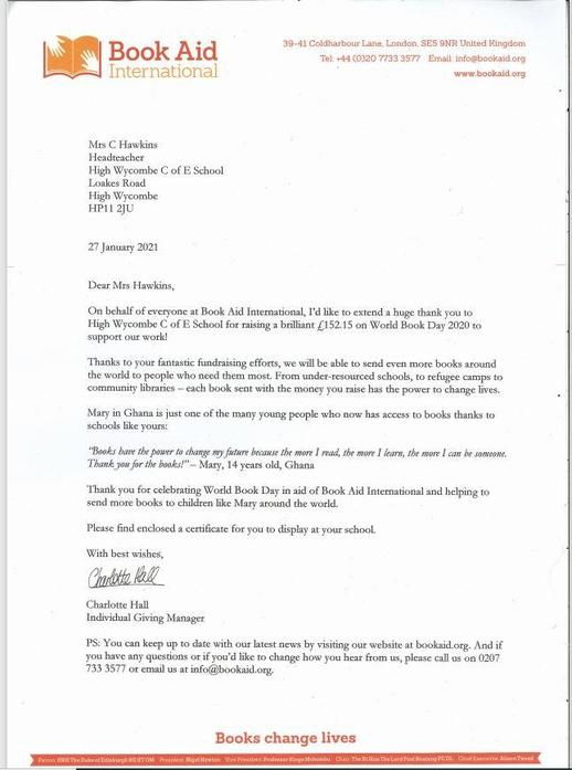 World Book Day Letter 2020