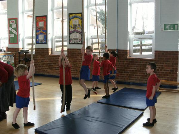 We have been learning to get out the PE apparatus!