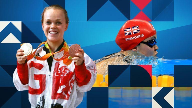 GB Paralympic swimmer, Ellie Simmonds, holding up two medals, against a photo of her swimming.