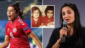 Composite photo of Nadia Nadim playing football on the left, speaking into a microphone on the right and, inset in the centre, as a lilttle girl with another child.