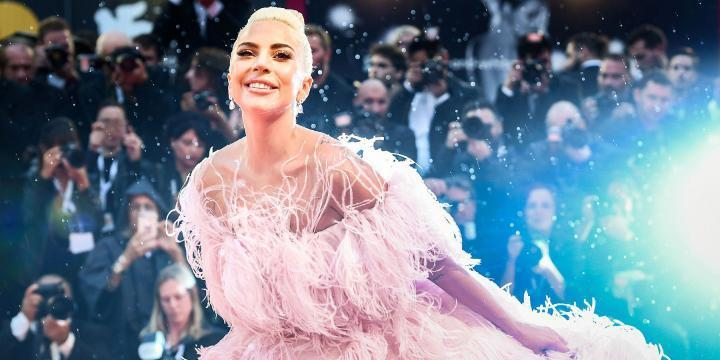 Lady Gaga, smiling, in a pink, feathered gown