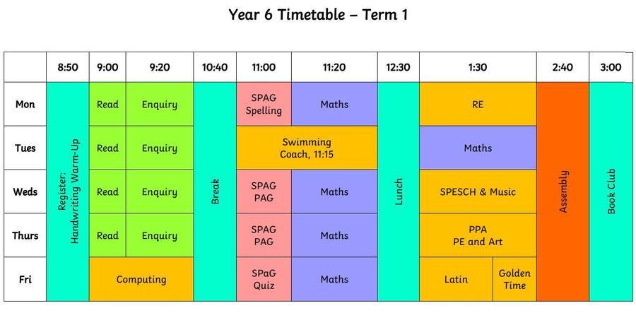 Yr 6 Weekly timetable