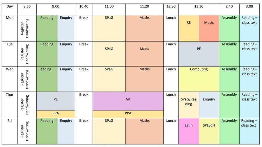 Yr 1 weekly timetable