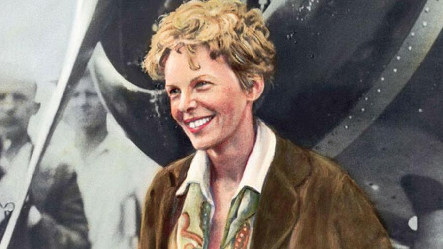 Romantic, colourised photo of Amelia Earhart with tousled hair, in front of black and white image of a plane propellor.