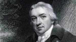 Head and shoulders detail from a black and white engraving of Edward Jenner.