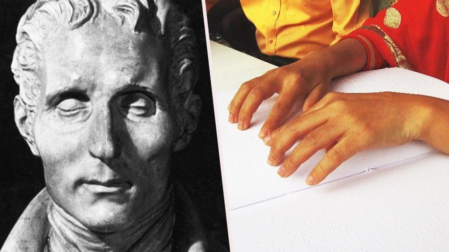A bust of Louis Braille and a pair of hands, reading Braille.