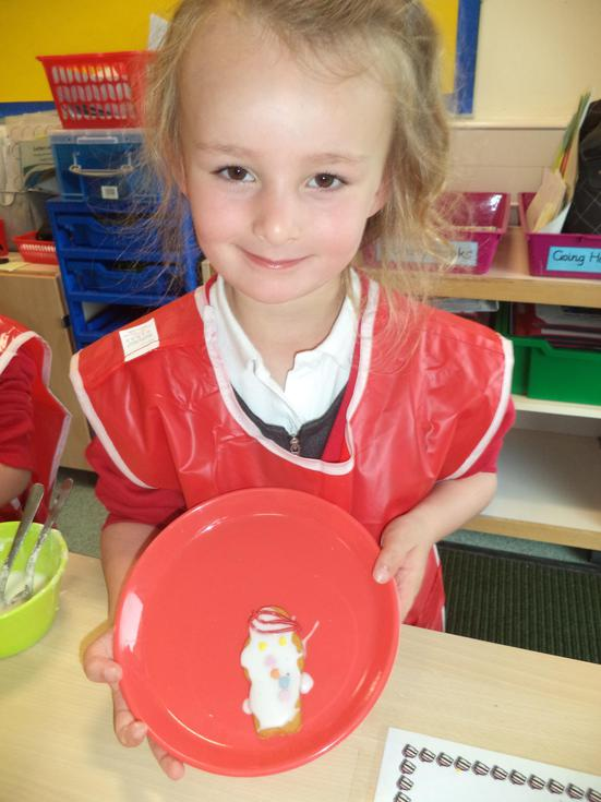 We decorated a biscuit to look like our friends