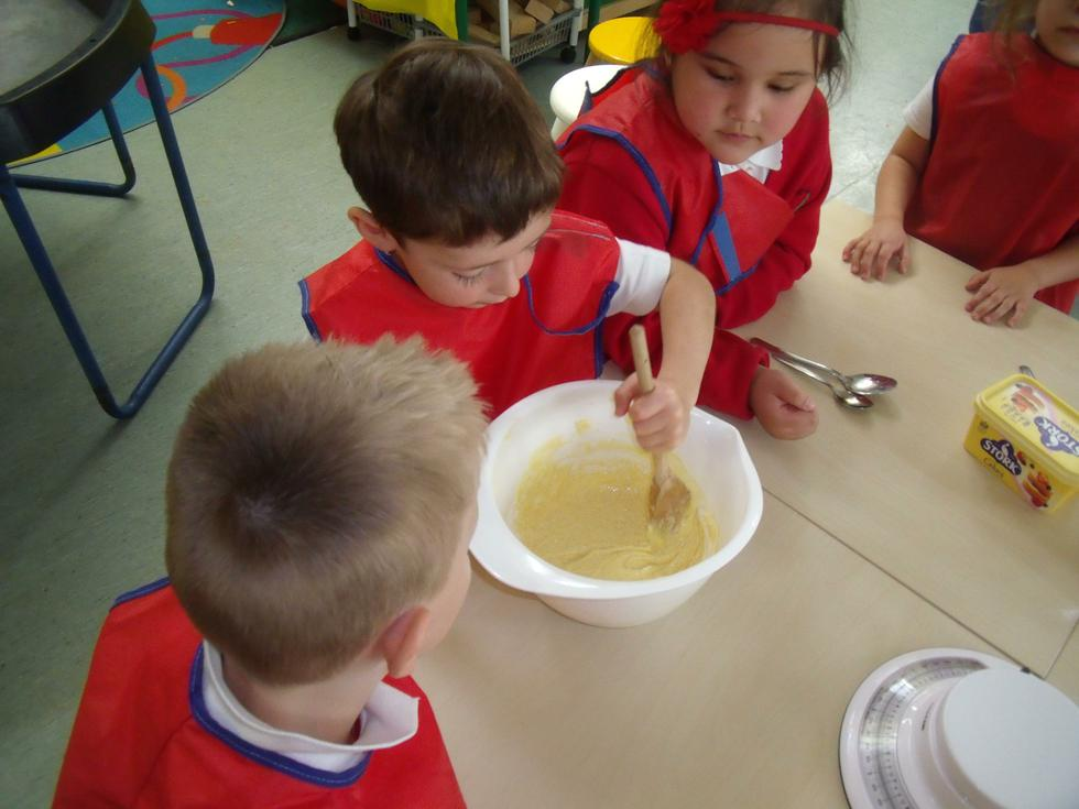 Making cakes - remember not to lick the spoon!