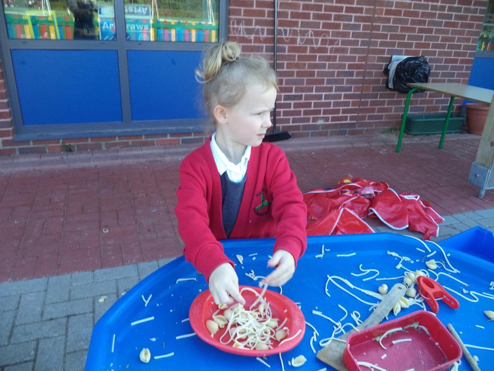 Exploring sticky pasta - yuck!
