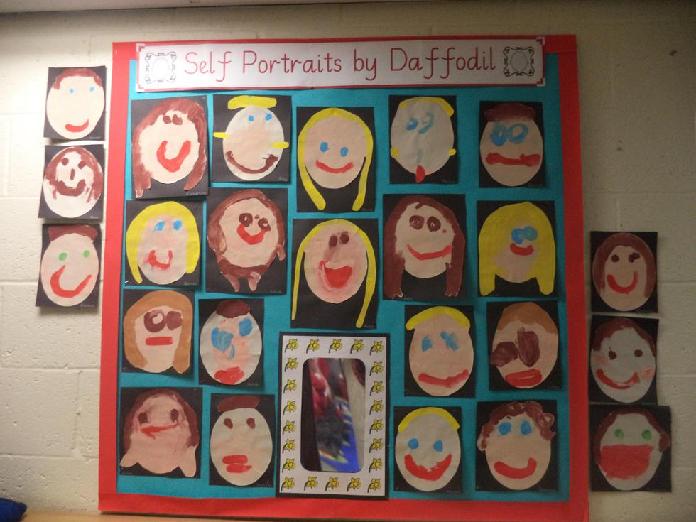 We looked in the mirror to create self-portraits