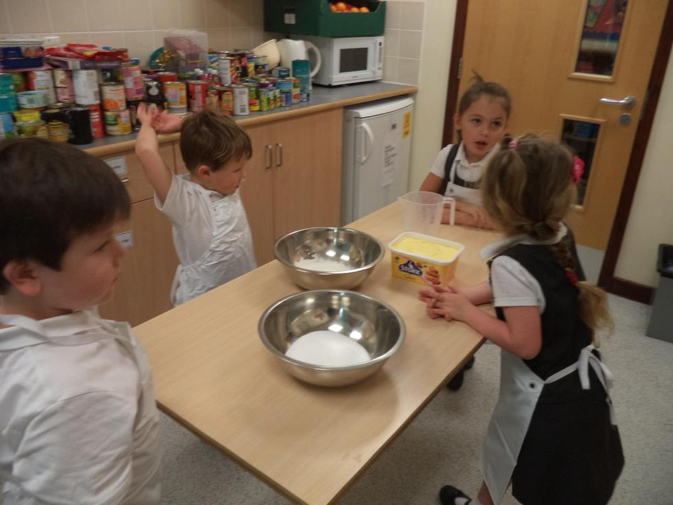 In the kitchen measuring ingredients and baking