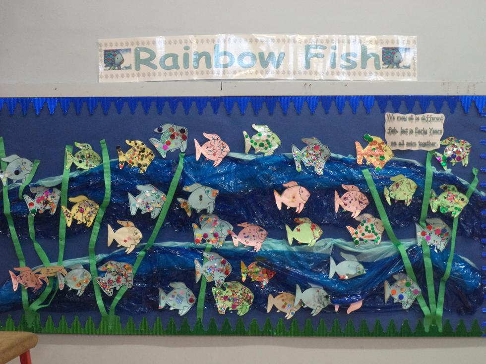 Rainbow fish made with our Sunflower Class friends