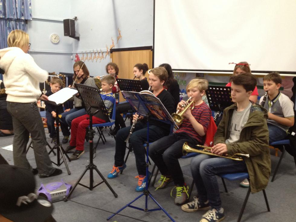 Hillmead Orchestra playing festive tunes