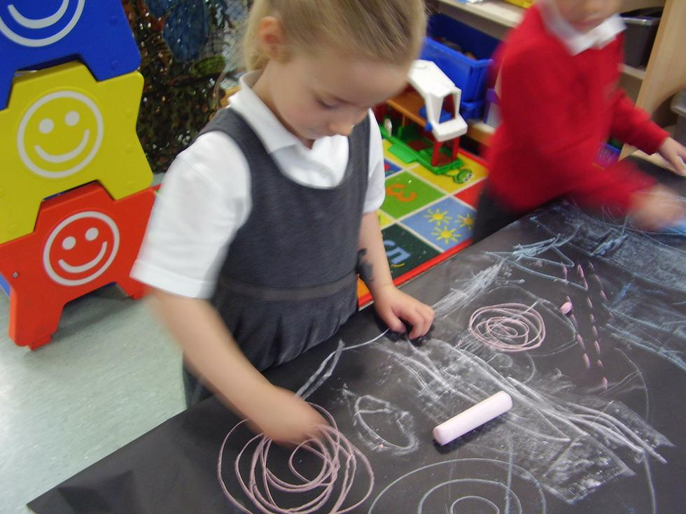 We made chalk drawings...