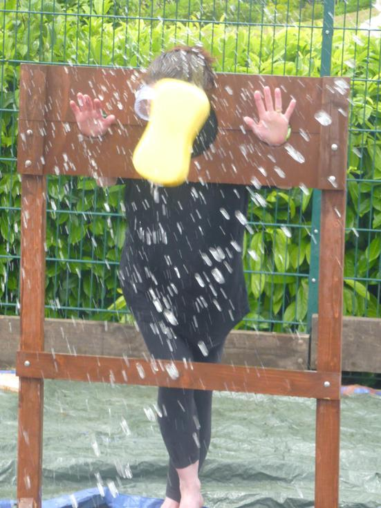 Mrs Shenston getting soaked