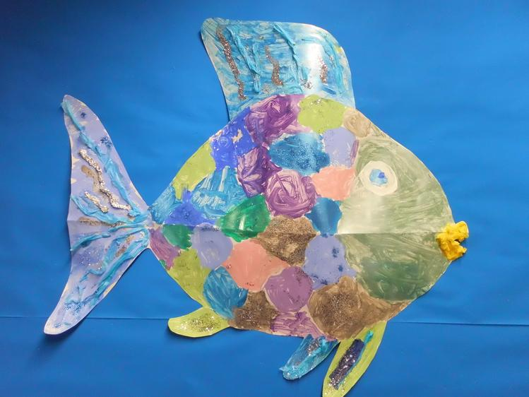 We worked together to make a giant Rainbow Fish