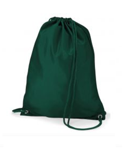 a green drawstring P.E. bag