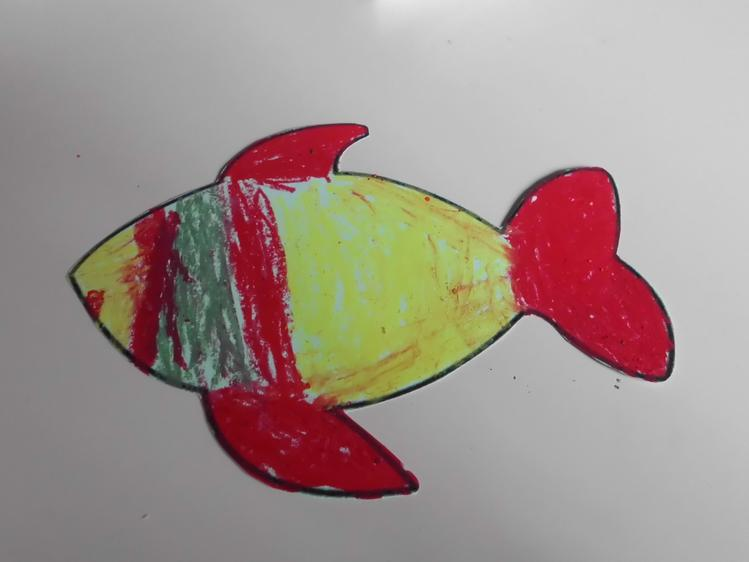 Then we used oil pastels to create our