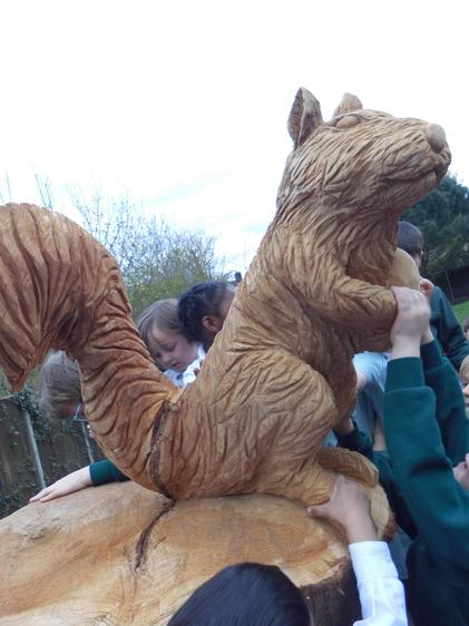 We visited Cyril the Squirrel our new wooden sculpture.