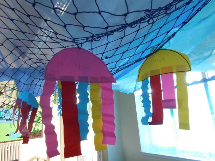 We hung our jellyfish in the role play area.