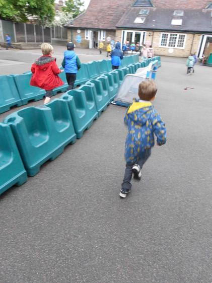 We did lots of running, jumping,