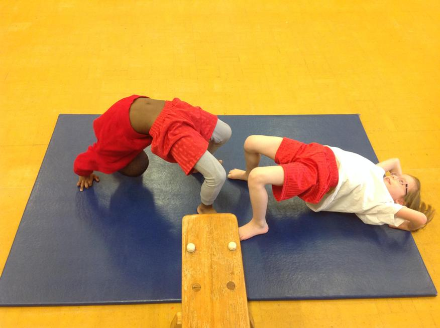 Demonstrating different balancing moves as a team