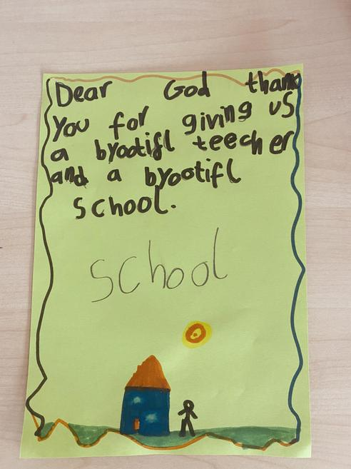 One of our children wrote this beautiful card for her teacher.