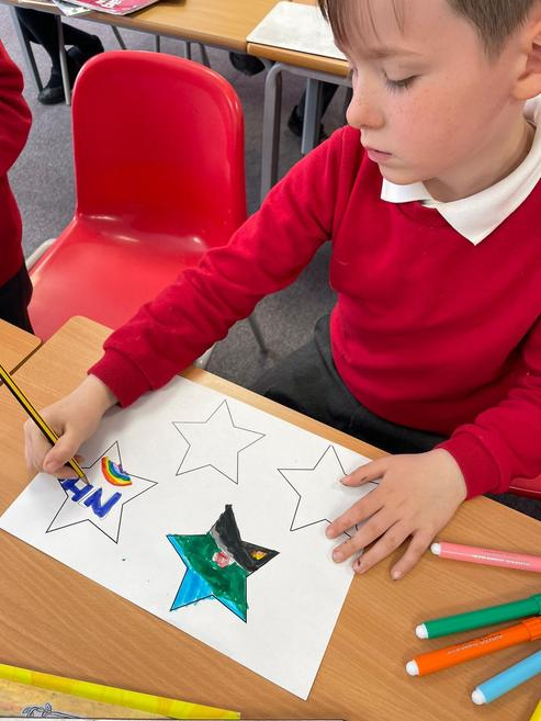 Green Class decorated and cut out 100 stars!