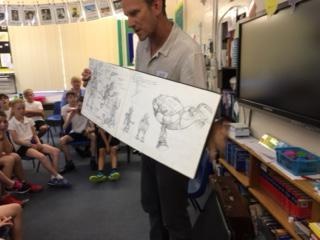 Author/illustrator Mark showed us his sketch book