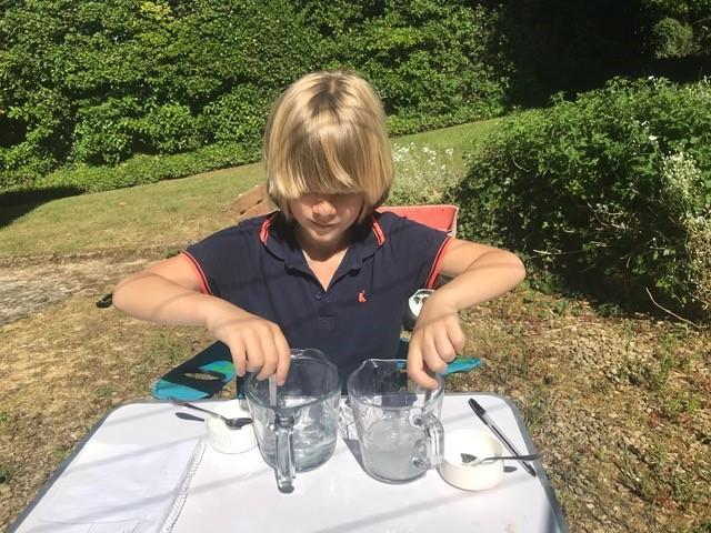 Science experiment in the garden