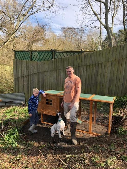 D helped his Dad build the chicken coop.